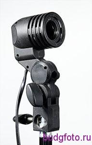 Штативная головка с патроном для лампы вид сбоку.