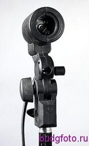 Штативная головка с патроном для лампы вид спереди.